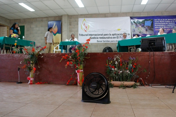 Photo of the stage where Tribunal testimonies took place.